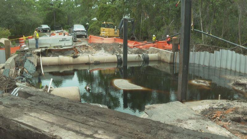 The bridge was already under construction when Hurricane Sally hit.