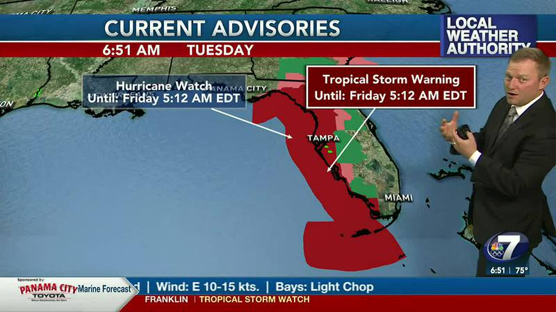 Meteorologist Ryan Michaels showing Tuesday's Advisories for Florida.