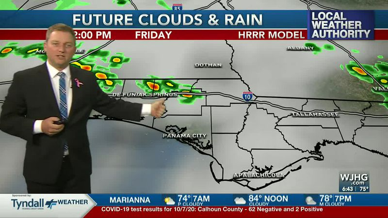 Meteorologist Ryan Michaels shows where a few afternoon storms may develop today.