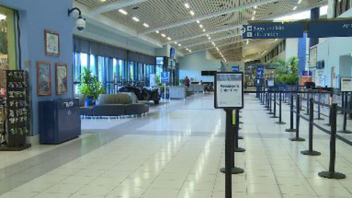 Not many travelers can be seen arriving or departing from the airport.