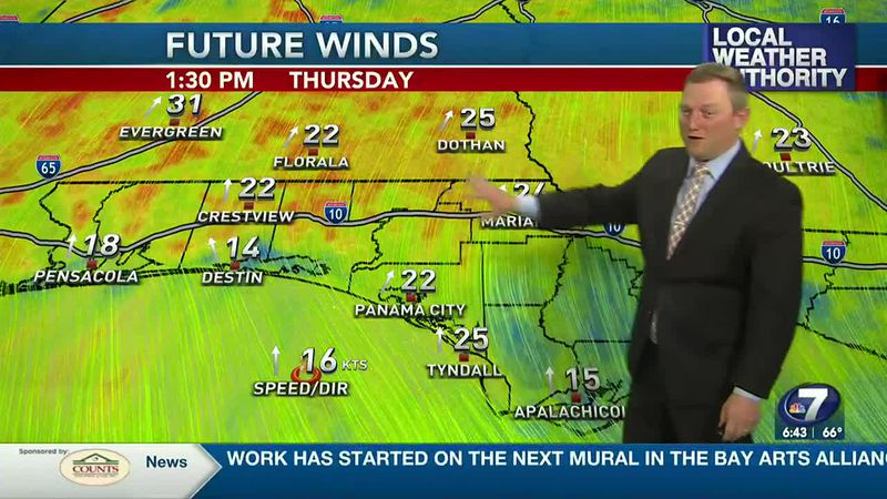 Meteorologist Ryan Michaels showing our windy conditions developing this afternoon.