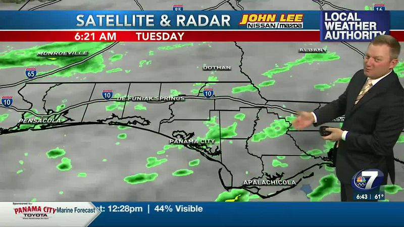 Meteorologist Ryan Michaels showing this morning's passing showers on radar.