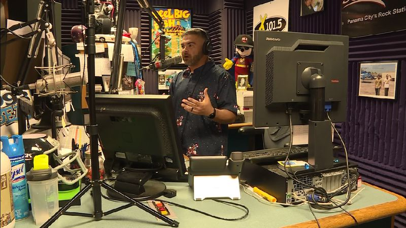 "Jake ""Paco"" Navarro is entertaining his listeners on 96 Rock FM in Panama City."