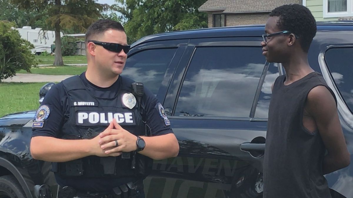 The two met under Bailey Bridge a couple weeks ago after Officer Midyette brought Kaleb safely...