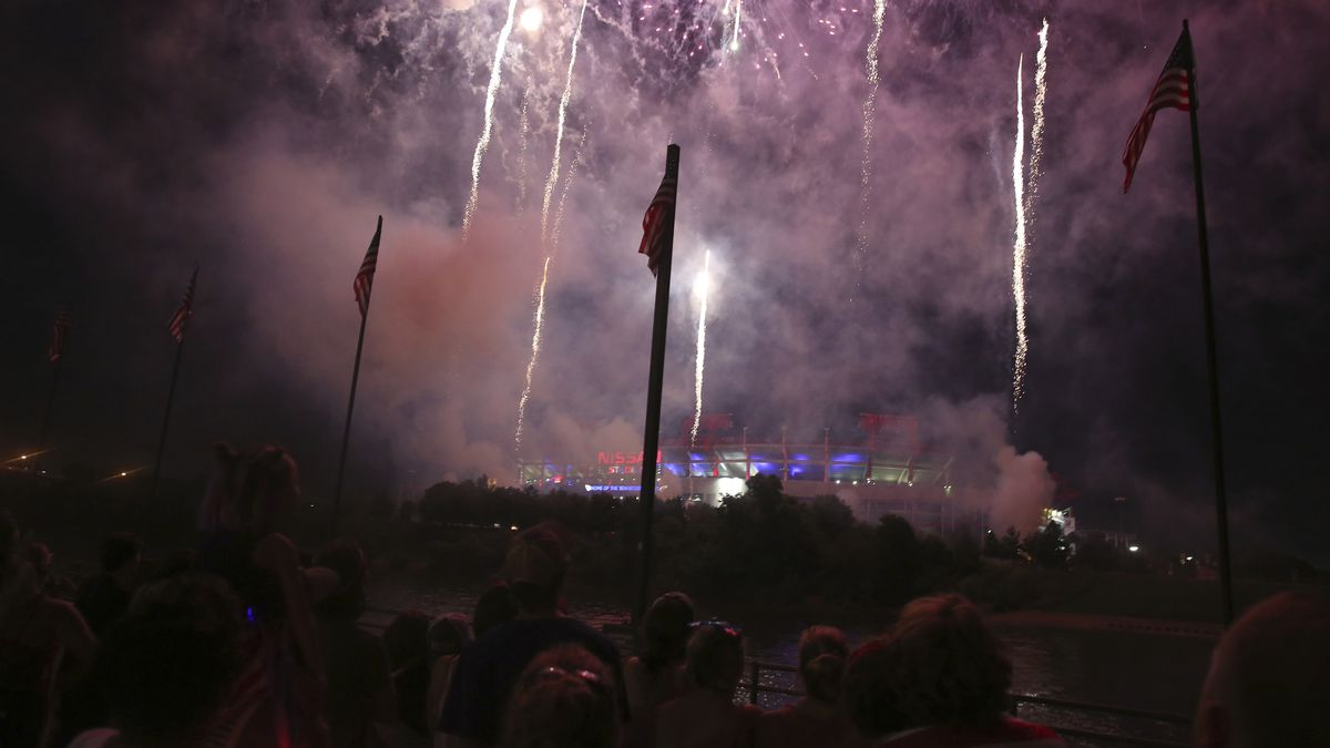 """Fireworks display during the """"Let Freedom Sing!"""" Music City's July 4th..."""