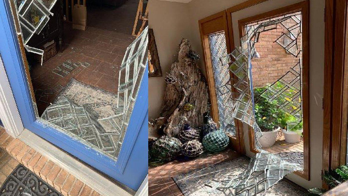 Deputies say a man broke through a glass door. (Bay County Sheriff's Office)