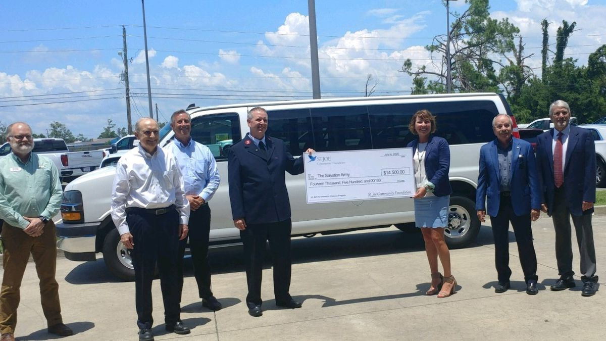 Thanks to a couple of area organizations, the Salvation Army received a passenger van Thursday to help transport families participating in its domestic violence program.
