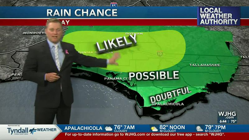 Meteorologist Ryan Michaels shows where he thinks storms will be more likely today.