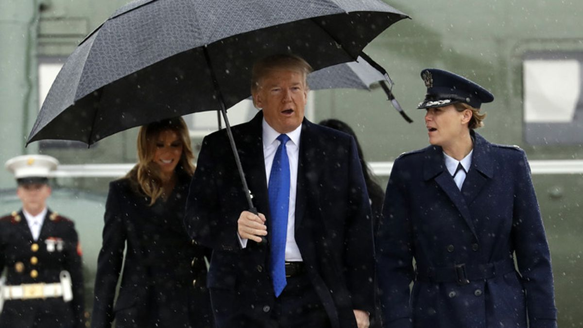 President Donald and first lady Melania Trump walk to board Air Force One for a trip to London to attend the NATO summit, Monday, Dec. 2, 2019, at Andrews Air Force Base, Md. (AP Photo/ Evan Vucci)