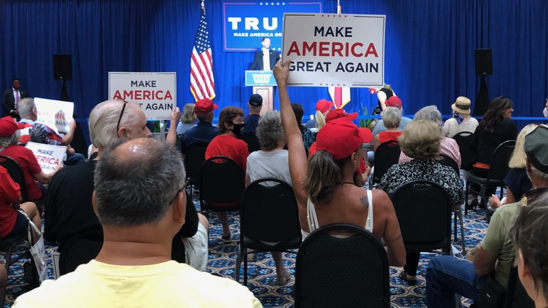 Eric Trump brings his father's Make America Great Again slogan to Northwest Florida.