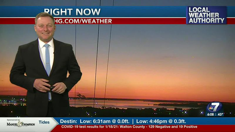 Meteorologist Ryan Michaels showing this morning's dawn light.