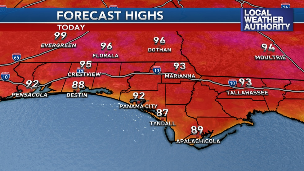 Highs are expected to be above average Tuesday afternoon.