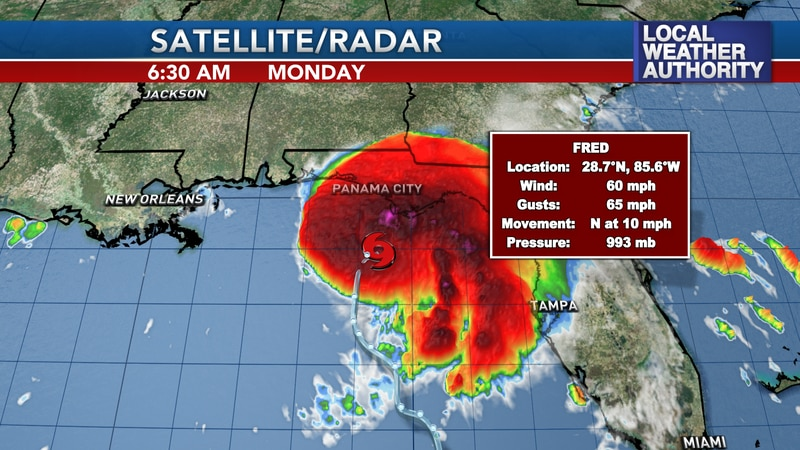 Fred is intensifying this morning, now to 60mph winds, or a strong tropical storm.