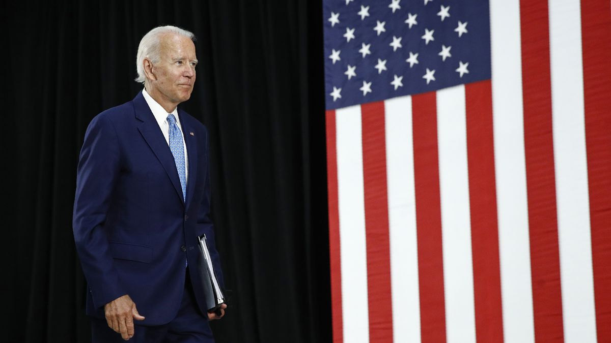 Former Vice President Joe Biden departs after speaking at Alexis Dupont High School in Wilmington, Del., Tuesday, June 30, 2020.