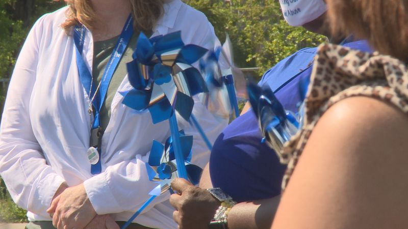 A pinwheel ceremony to recognize April as Child Abuse Prevention Month