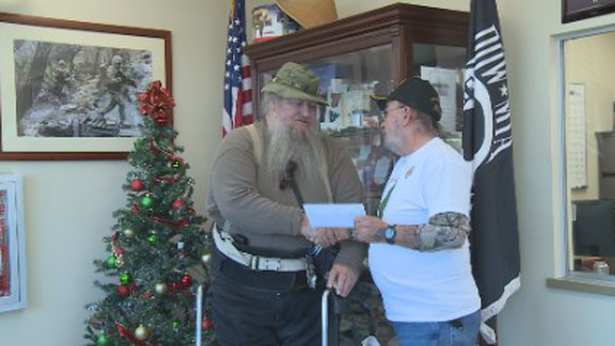 Veterans receive money and Christmas trees from the Vietnam Veterans of America.<br />(wJHG/WECP)