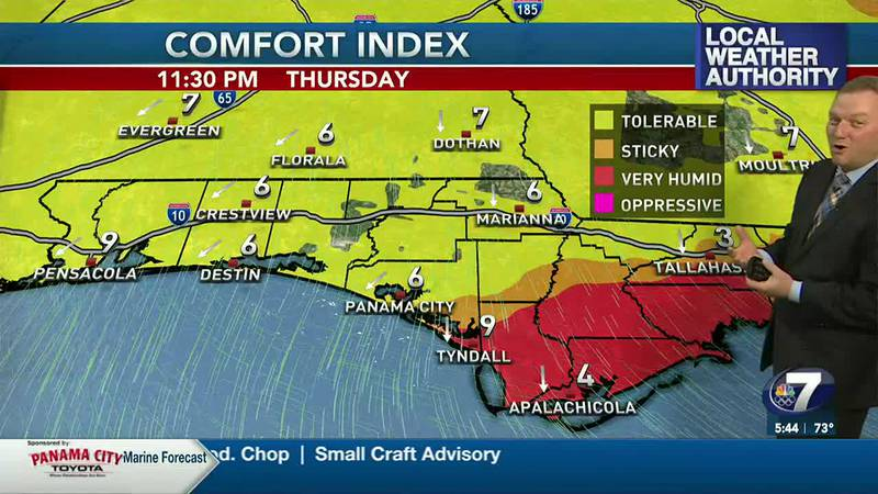 Meteorologist Ryan Michaels says a cold front will bring in a less humid air mass tonight.