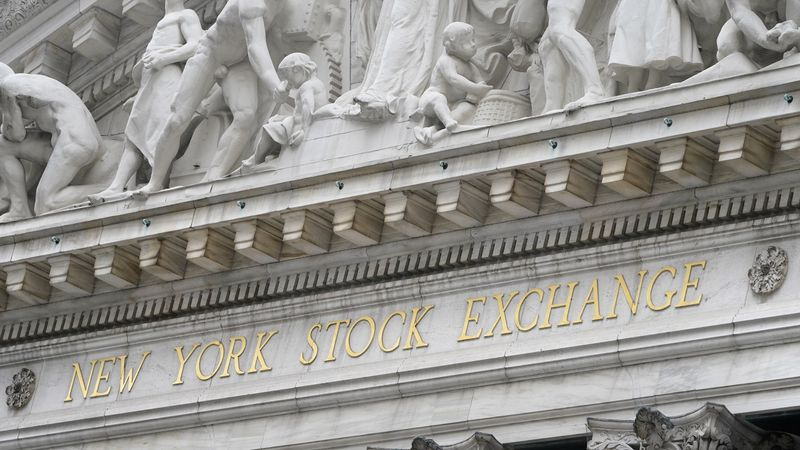 The sign is displayed at the New York Stock Exchange in New York, Monday, Nov. 23, 2020. ...