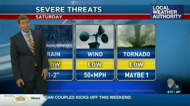 A small risk of severe weather is possible on Saturday.