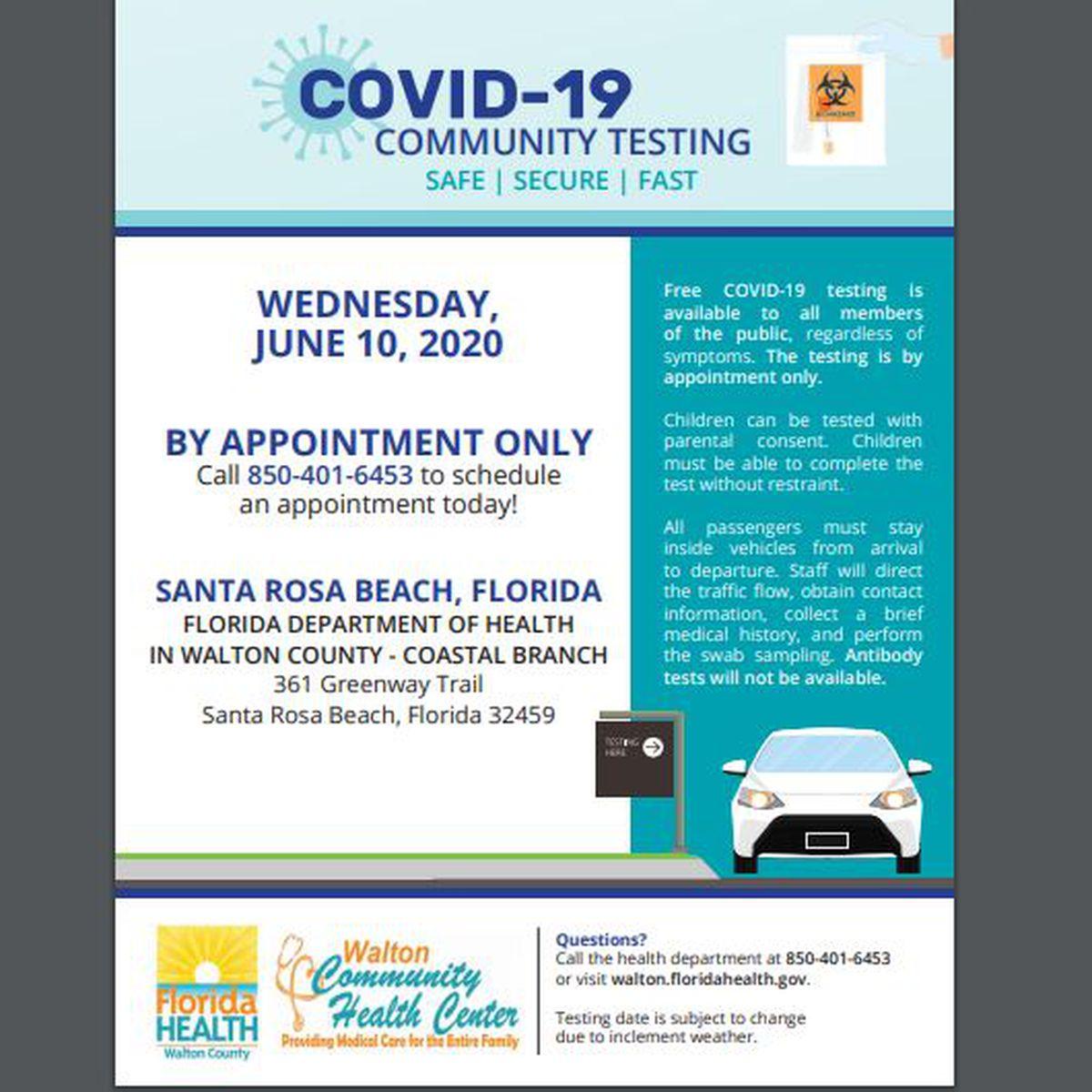 Free Covid 19 Testing Site In Santa Rosa Beach