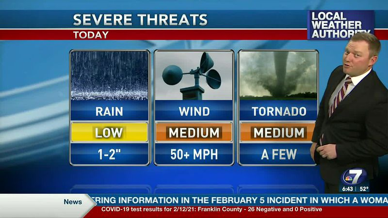 Meteorologist Ryan Michaels showing this afternoons severe storm threats for NWFL.