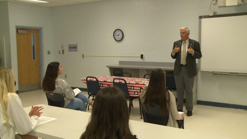 On Friday, Superintendent Bill Husfelt was at Deane Bozeman School talking to 9-12 grade...