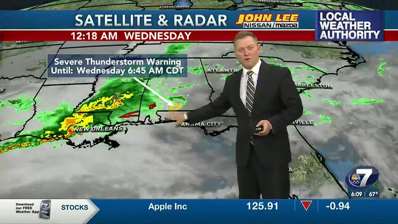 Meteorologist Ryan Michaels showing this morning's storms on approach.