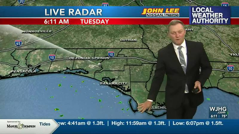 Meteorologist Ryan Michaels showing this morning's radar and spotty showers for the coast.