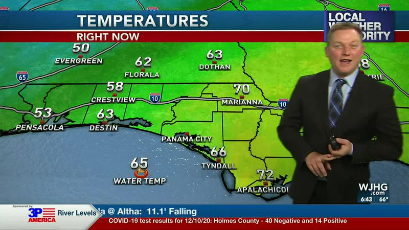 Meteorologist Ryan Michaels showing the cooler air filtering in from the northwest.
