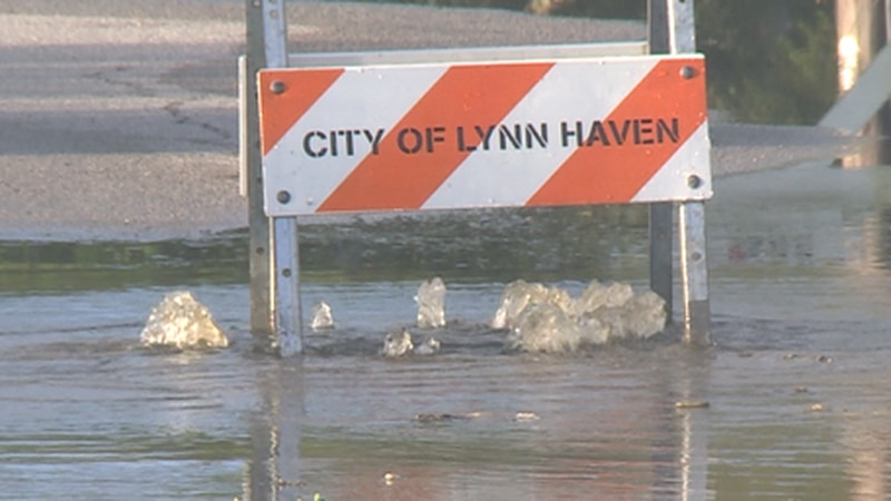 The city is working to clear out water from roadways.