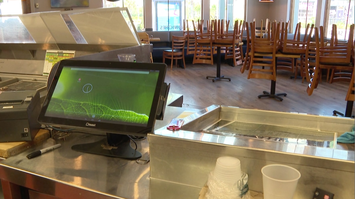 Great White Pizza in Panama City Beach sits empty like many other small businesses due to...