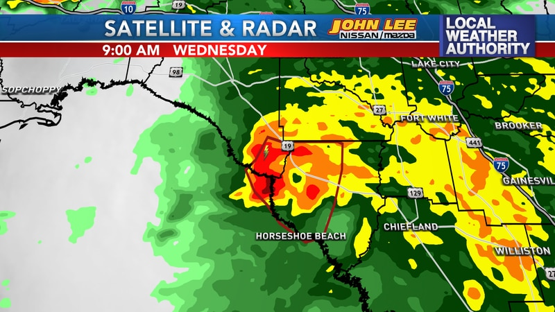 Tropical Storm Elsa's eyewall coming onshore in Taylor and Dixie Co's in Florida.