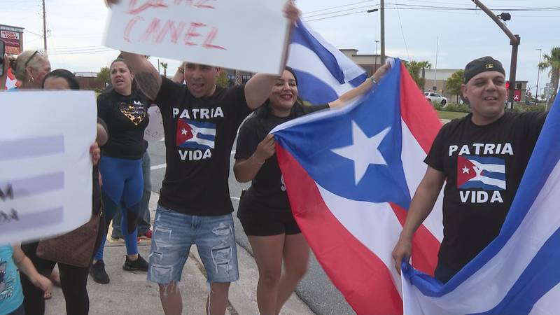 Protesters tell us they're raising awareness for freedom in Cuba.