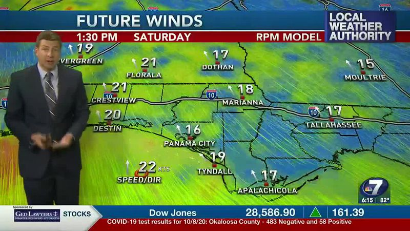 Winds pick up on Saturday as rain moves into the panhandle
