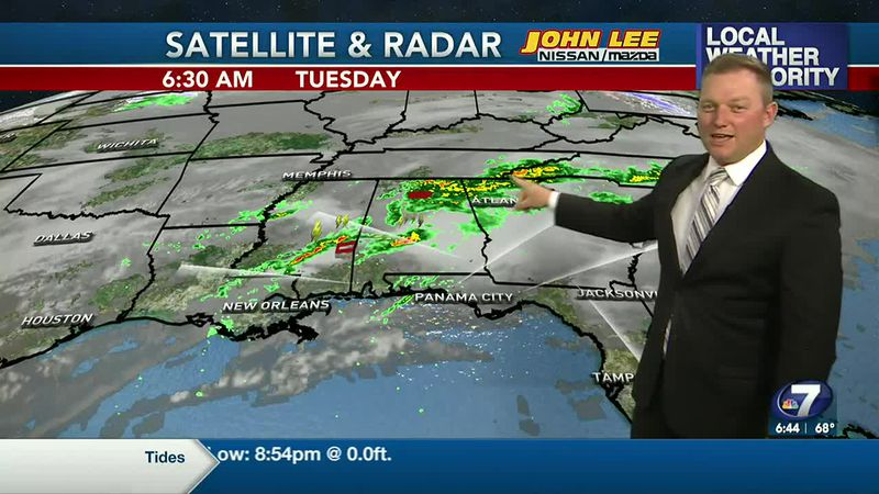 Meteorologist Ryan Michaels says the heavy storms stay north of NWFL today with only a few...