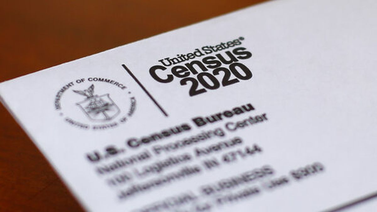 FILE - In this Sunday, April 5, 2020 file photo, An envelope containing a 2020 census letter...