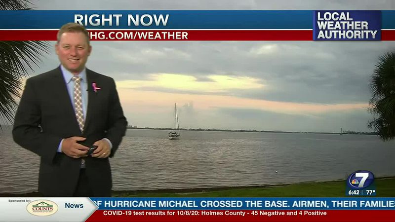 Meteorologist Ryan Michaels showing the mostly cloudy start to our day.