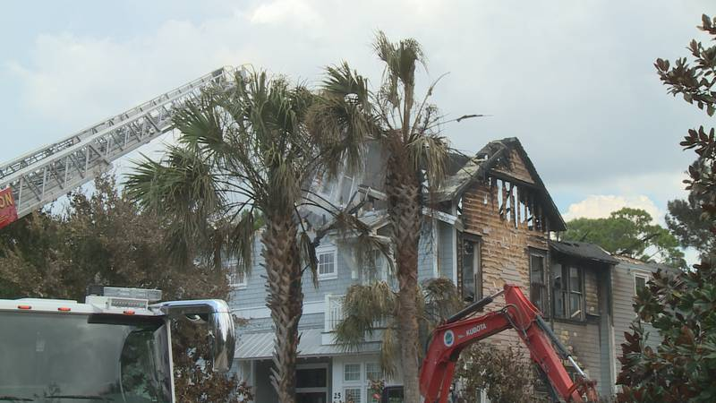 Firefighters worked through the night and were still on scene the next day checking for hot...