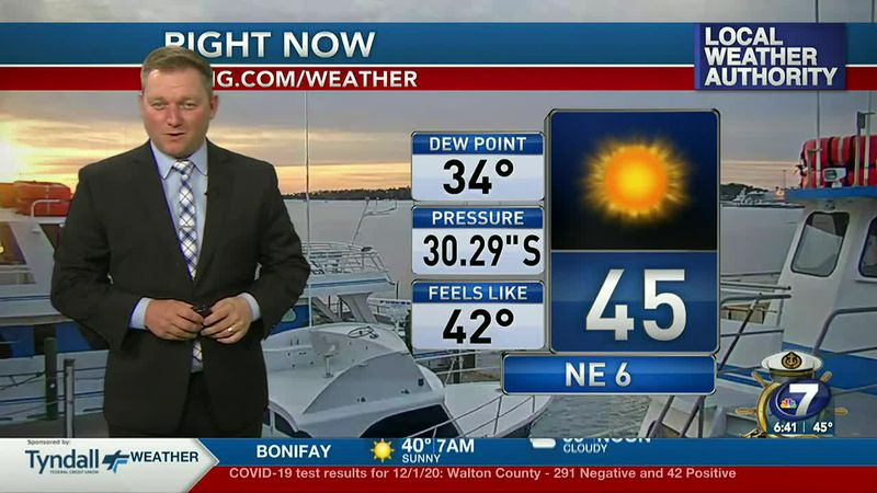 Meteorologist Ryan Michaels shows this morning's chilly temperatures.