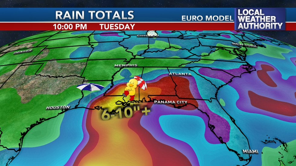 The tropical disturbance in the Gulf will have the potential to bring several days of rain from...