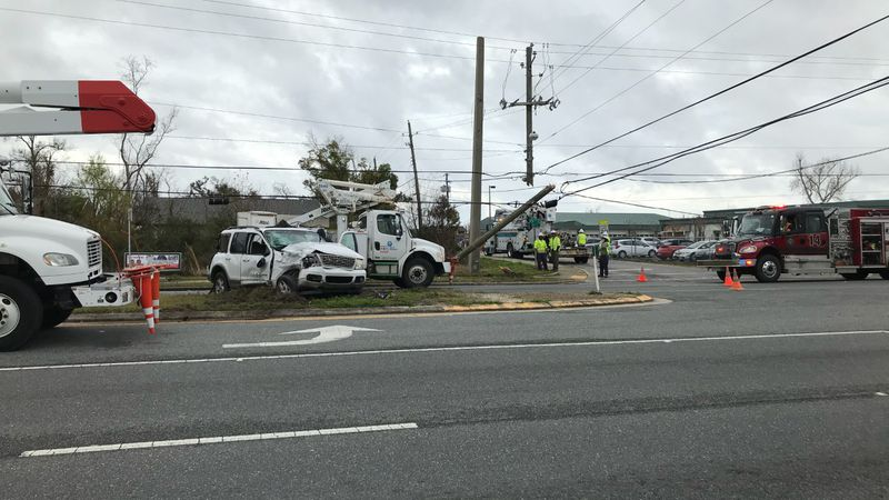 An accident in Panama City left lanes closed and power lines down Friday.