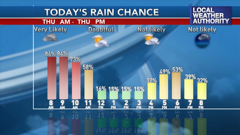 Only a few small and stray lighter showers are possible in the afternoon.