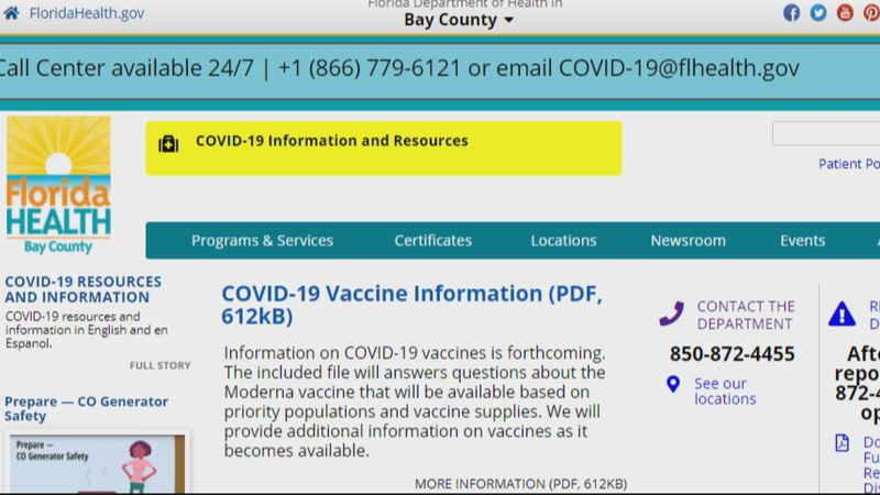 As of Tuesday night, the Bay County Health Department had not posted its vaccine distribution...