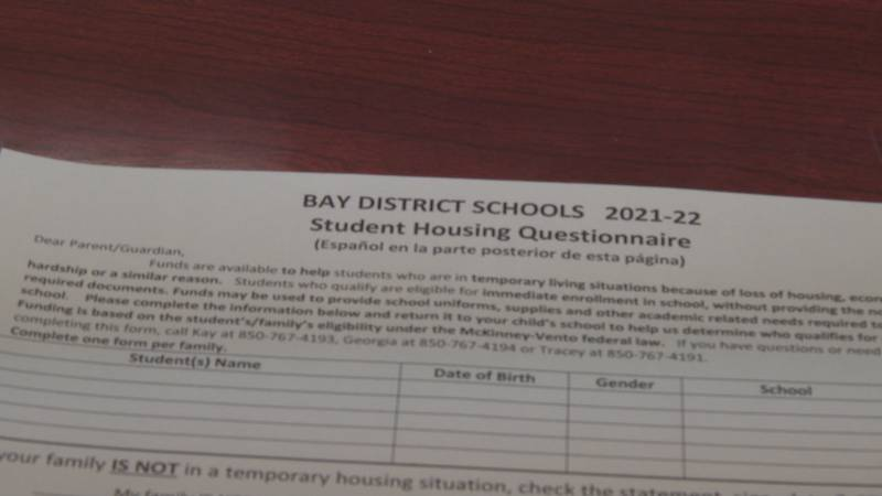 Bay District School officials are looking to help their homeless student population.