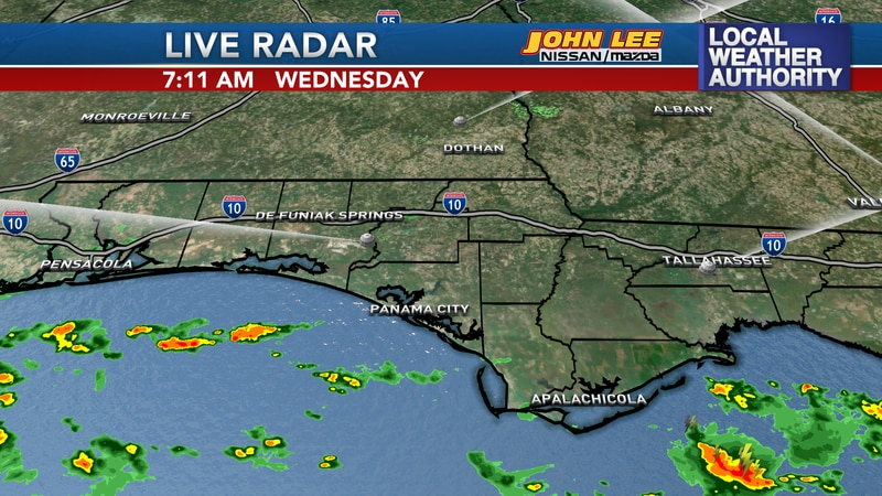 Rain developed this morning off the warm waters of the Gulf and moved onto the coast,...