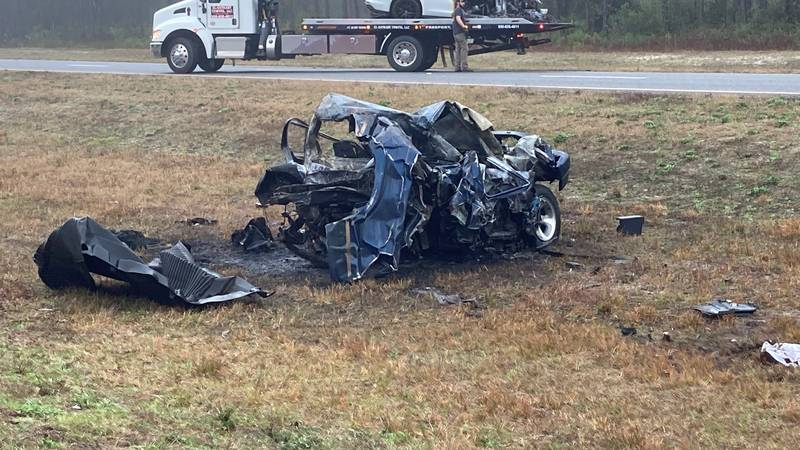 Florida Highway Patrol Troopers say the man in the pickup truck died from his injuries. The...