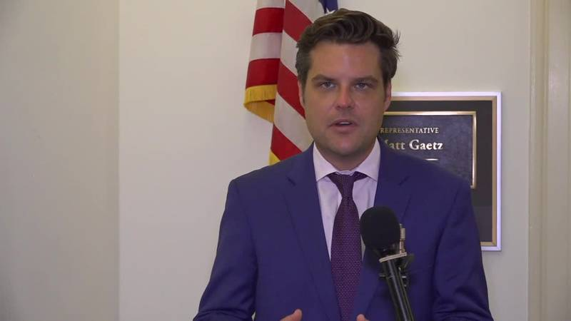 Rep. Matt Gaetz does an interview from outside his office on Capitol Hill about COVID-19.