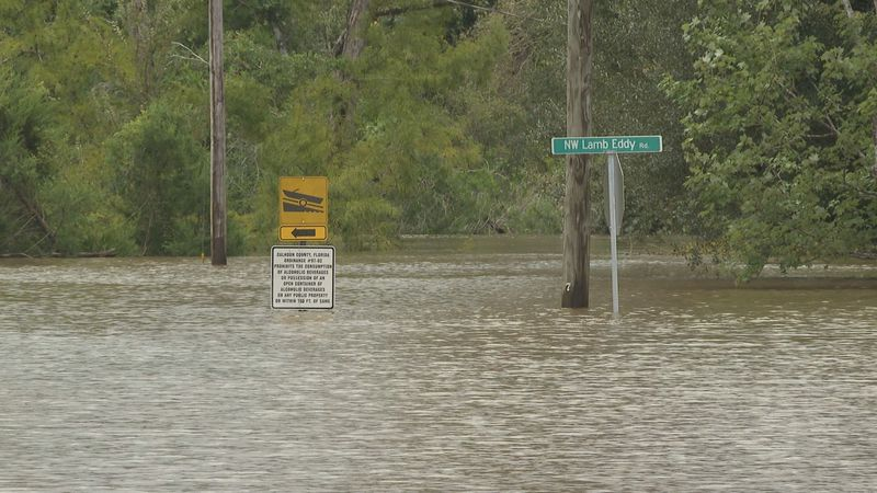 Parks and yards in Calhoun County are now ponds and pools.