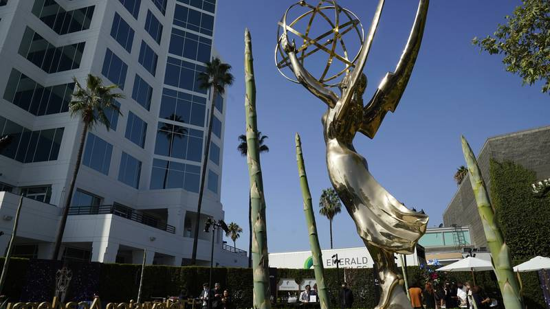 An Emmy statue is pictured during Press Preview Day for the 73rd Primetime Emmy Awards,...