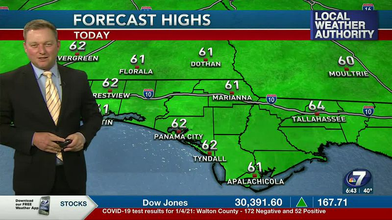 Meteorologist Ryan Michaels showing today's high temperature forecast.